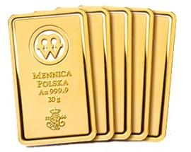 5 sztabek Au 20 g - Sztabki złota Mennicy Polskiej